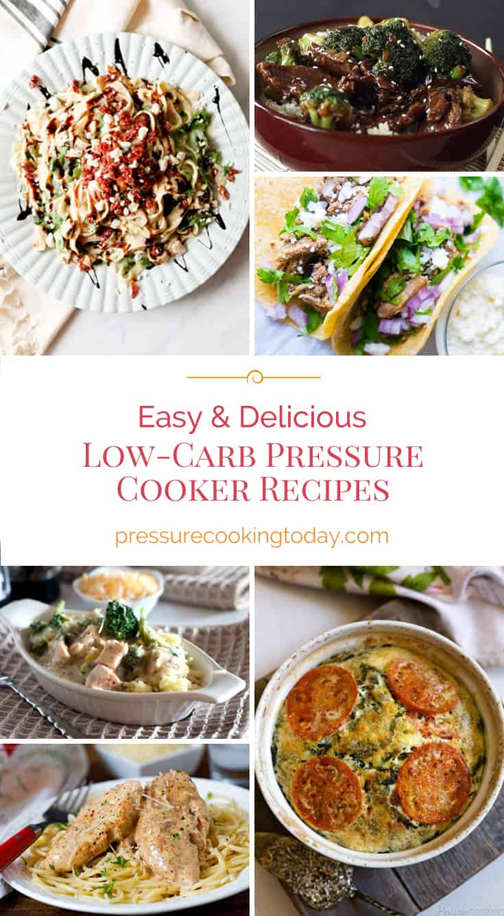 collage of low-carb recipes for the pressure cooker