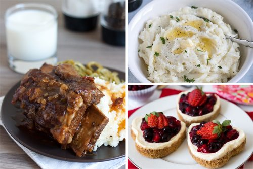collage of short ribs, mashed potatoes, mini cheesecakes