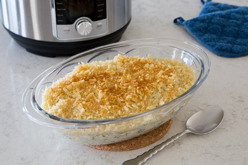 Pressure Cooker Cheesy Hash Brown Casserole cooked in the Instant Pot.