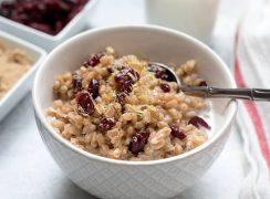 Lemon-Cranberry-Breakfast-Farro in a white bowl