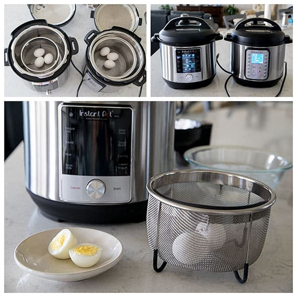 Collage showing the cooking of hard boiled eggs at Max Pressure in the Instant Pot Max