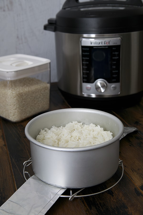 Cooked Rice using the Pot-in-Pot method of pressure cooking in the Instant Pot Ultra