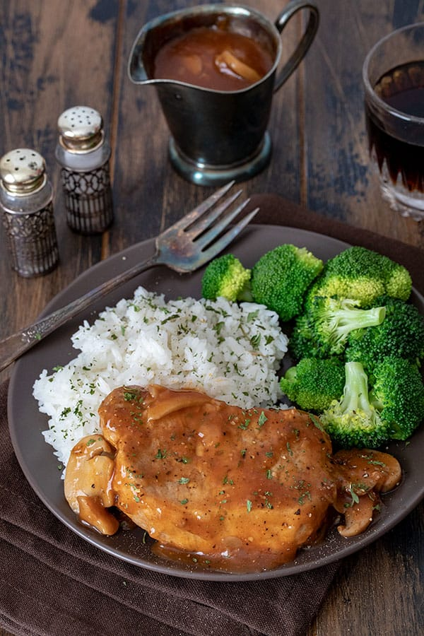Shortcut Pressure Cooker (Instant Pot) Boneless Pork Chops recipe for the InstaPot or electric pressure cooker, quick and easy meal with a tomato-mushroom gravy