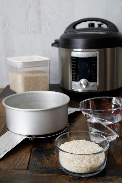 Pressure cooker accessories showing pot-in-pot-rice