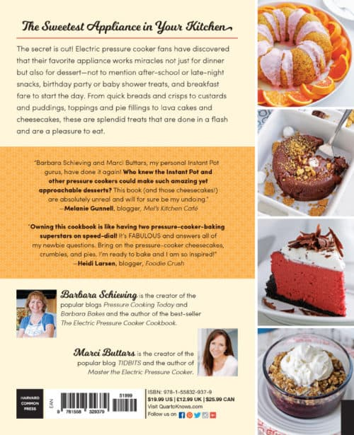 Back cover of Instantly Sweet the new dessert cookbook for Insta Pots and Other Brands of Electric Pressure Cookers