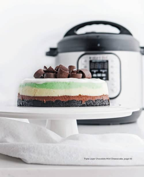 It looks hard, but it isn\'t! Make this Triple-Layer Mint Chocolate Cheesecake in your Instant Pot or other brand of electric pressure cooker.