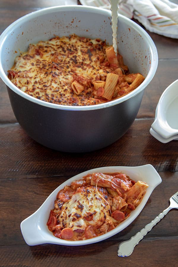 ThisNinja Foodi Pressure Cooker Pepperoni Pizza Pasta is a perfect family meal. It\'s hearty and filling with an irresistible golden, cheesy top.