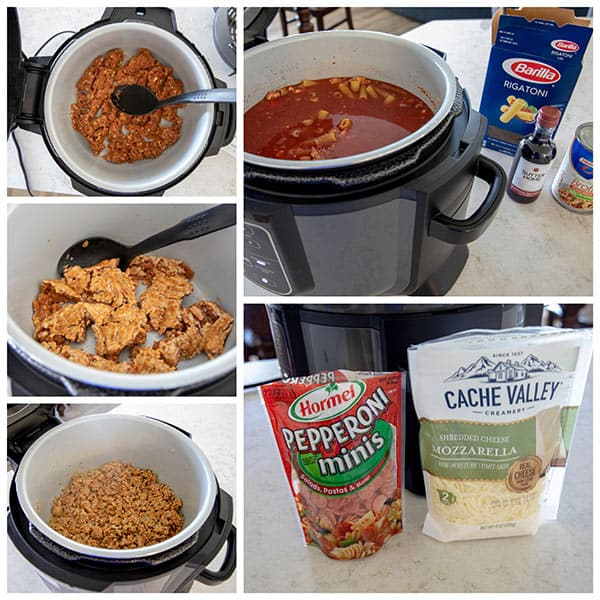 collage of browing sausage for Ninja Foodi Pressure Cooker Pepperoni Pizza Pasta