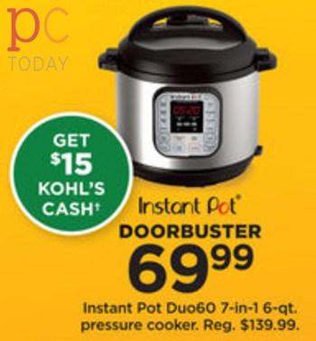 Kohls Black Friday Instant Pot Duo 6qt Pressure Cooker