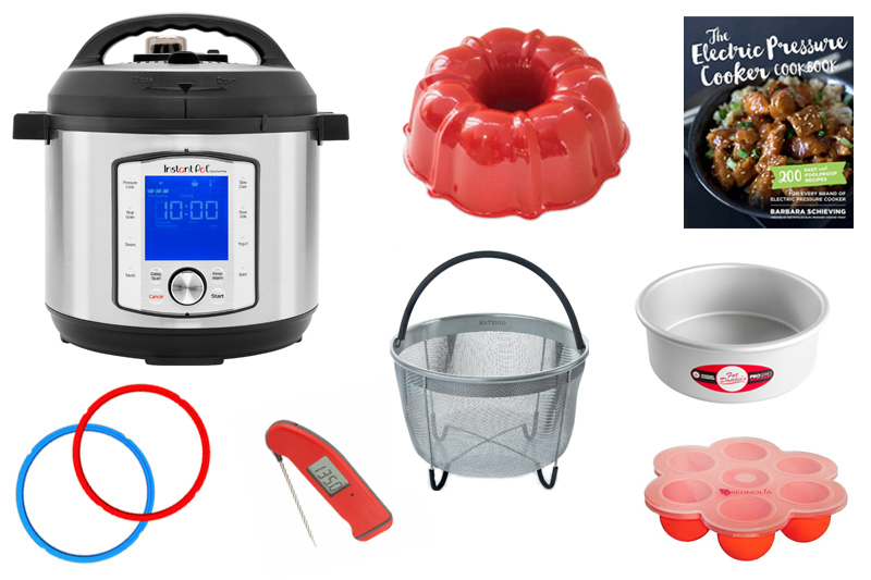Collage of the Best Instant Pot gifts for Instant Pot lovers, featuring an Instant Pot Duo Evo Plus, a bundt pan, a steamer basket, a thermapen, and the Electric pressure Cooker Cookbook