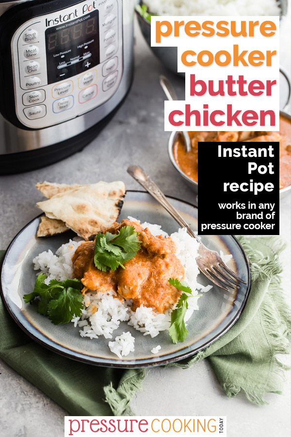 Instant Pot Butter Chicken on a plate with a fork