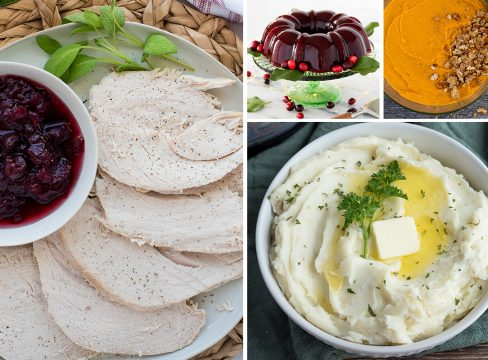 Collage featuring a large image of sliced turkey on the left, with a small image of cranberry jelly and sweet potato casserole on the top right, and mashed potatoes on the bottom right