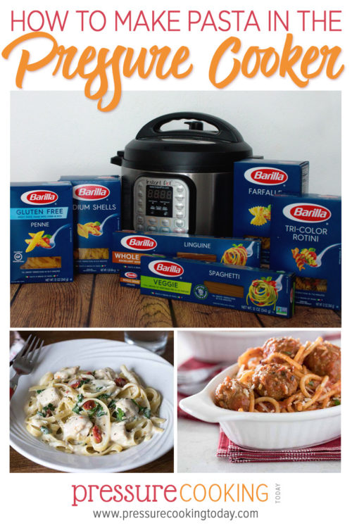 Instant Pot with boxes of different kinds of pasta