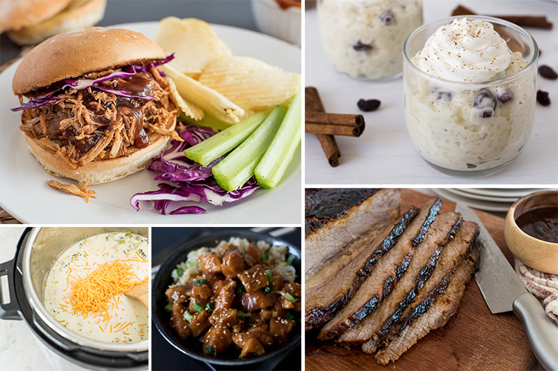 Picture collage of most popular pressure cooker recipes from 2019, including, Instant Pot Pulled Pork, Instant Pot Rice Pudding, Instant Pot Broccoli Cheese Soup, Instant Pot Honey Sesame Chicken, and Instant Pot Beef Brisket.