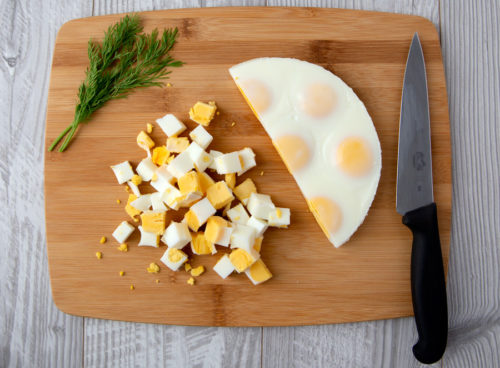 Egg loaf cooked in the InstaPot is easy to dice into small pieces without peeling or an ice bath