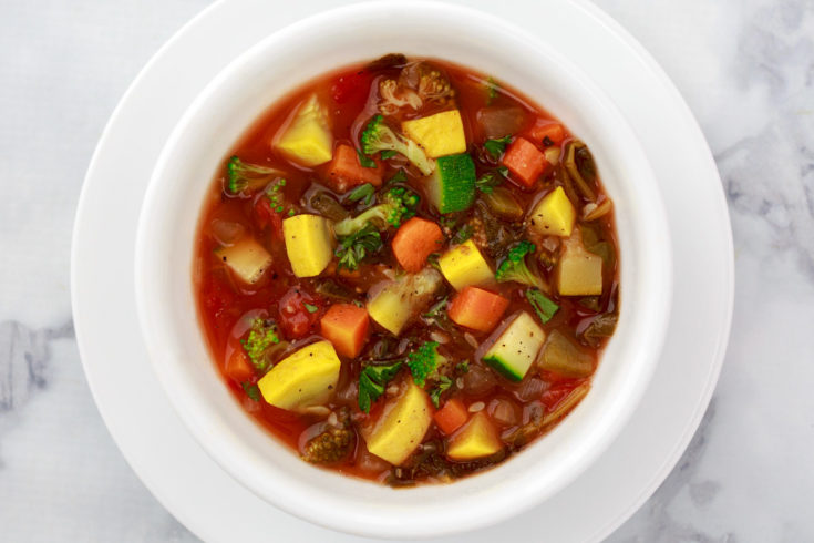 Close up of Instant Pot / Pressure Cooker Weight Loss Soup recipe