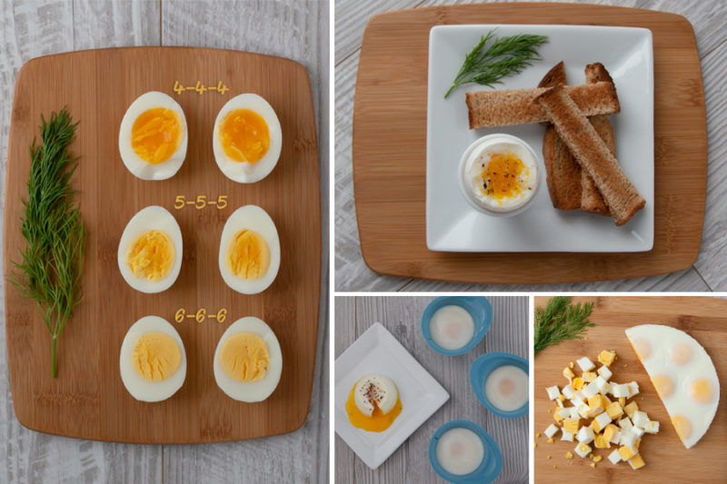 collage of pictures showing How to Make Instant Pot Eggs in ANY Electric Pressure Cooker