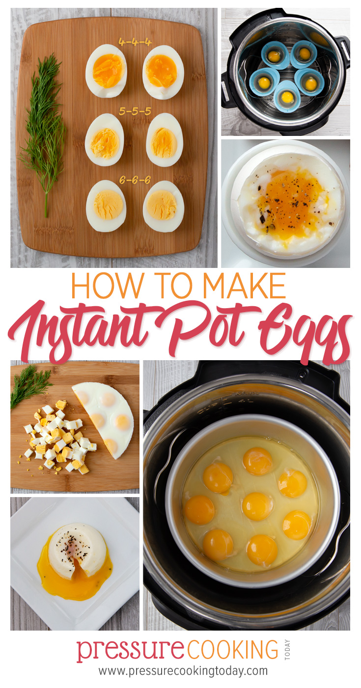 Find the right timing for your brand and model of pressure cooker so that you get PERFECT eggs every time.     Hard-boiled, soft-boiled, poached, and egg loaf instructions. via @PressureCook2da