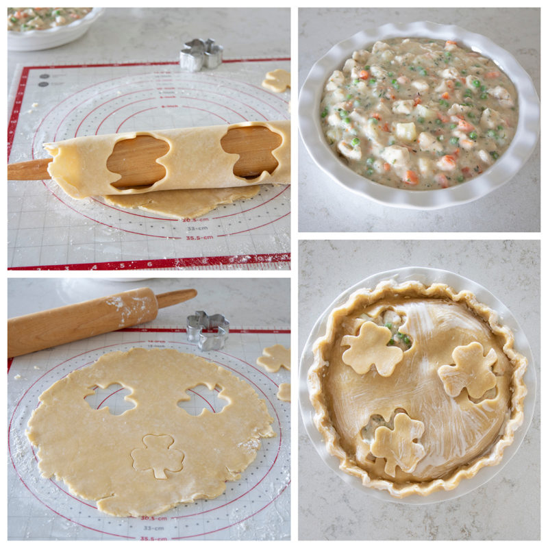 Overhead of four images of homemade pie crust being rolled out, cut and placed on top of Instant pot chicken pot pie for St. Patrick's Day.