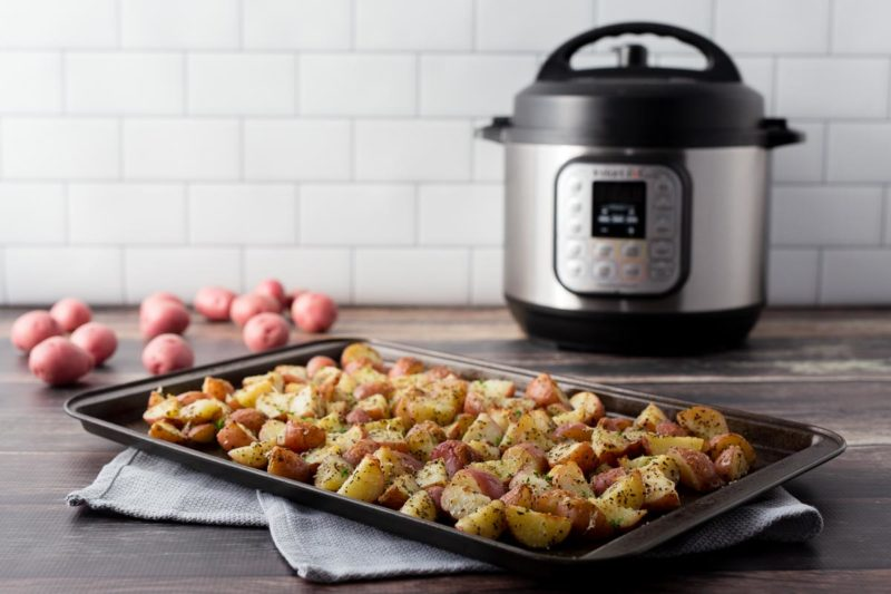 Making Instant Pot Garlic Roasted Red Potatoes