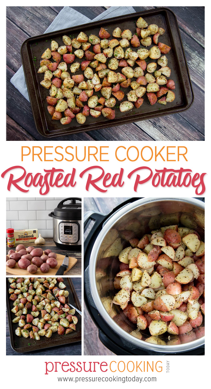These Instant Pot Garlic Roasted Red Potatoes are coated in melted butter, garlic, and herbs, sprinkled with Parmesan cheese, and browned in an oven until perfect. MUST TRY!!! via @PressureCook2da