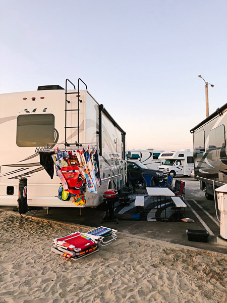 RV parked at Silver Strand State Beach in San Diego, California. I used my Instant Pot all the time on this trip!