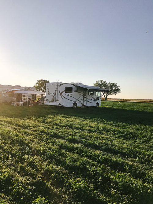 Camping in a field before the 2017 solar eclipse. The pressure cooker was a great addition to this travel!
