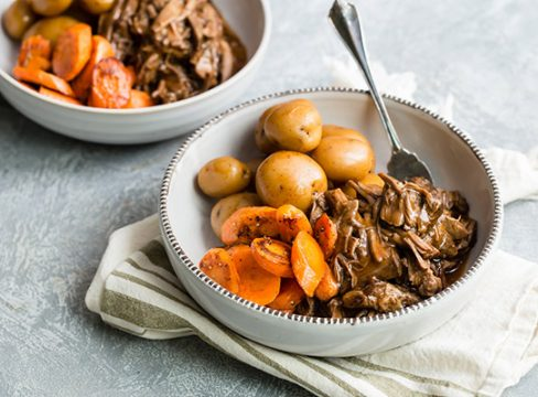 Easy Instant Pot Pot Roast Recipe served in a white bowl