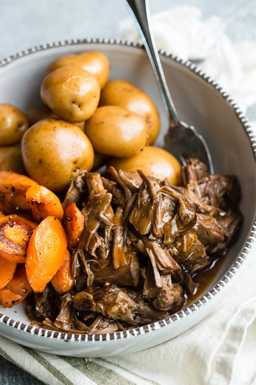 Old-Fashioned Pressure Cooker Pot Roast with Potatoes and Carrots