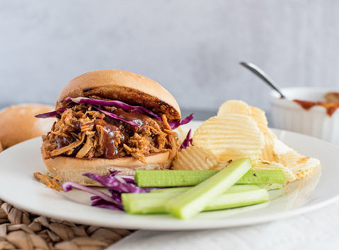 InstaPot Pulled Pork sandwich, with cabbage, celery, and potato chips