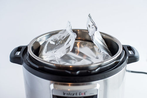 The foil sling used to lower the ramekin into the Instant Pot