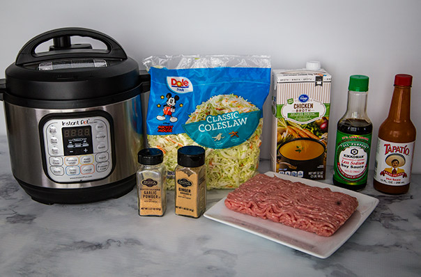 Ingredients shot for egg roll in a bowl