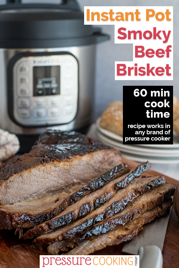 Tender, juicy Instant Pot brisket with a 60 minute cook time! via @PressureCook2da