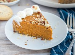 Instant Pot Pumpkin Pie plated up for Thanksgiving.