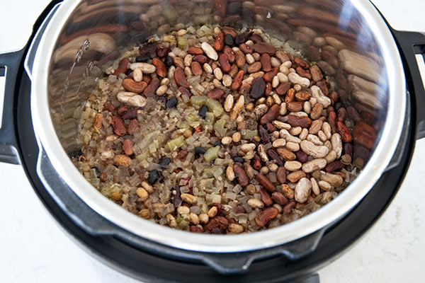 Soaked beans for Instant Pot Cajun 15 Bean Soup with Rice and Sausage