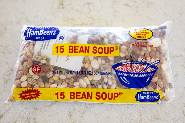 20 ounce package of Hurst Hambeen 15 Bean Soup