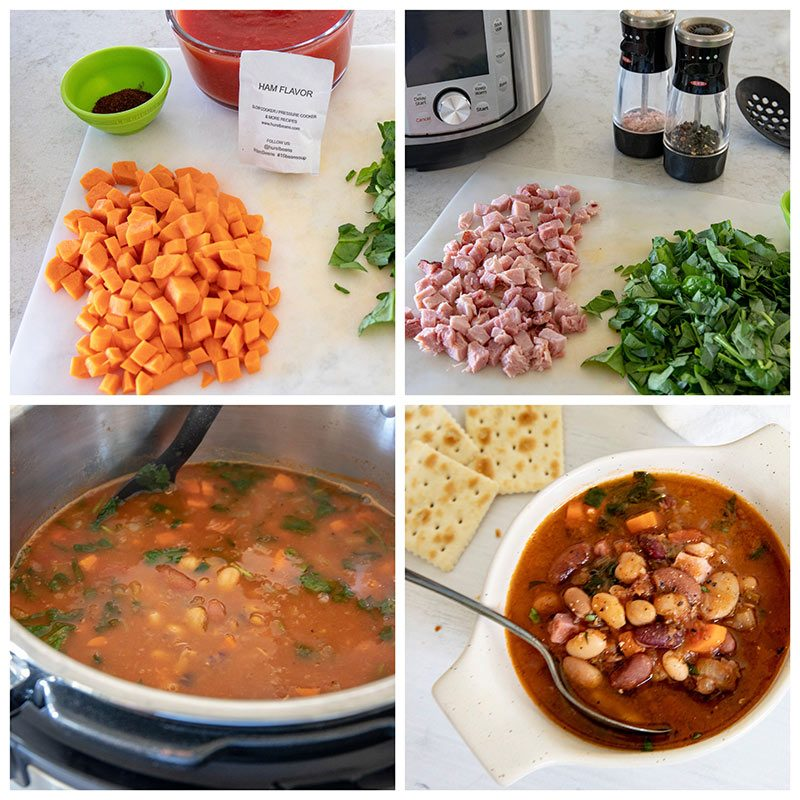 picture collage showing the adding of ham and veggies to Hursts Hambeen 15 Bean Soup