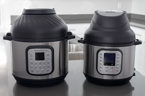 A side by side picture comparison of the Instant Pot Duo Crisp and the Instant Pot Air Fryer Lid on top of the Instant Pot Duo Nova.