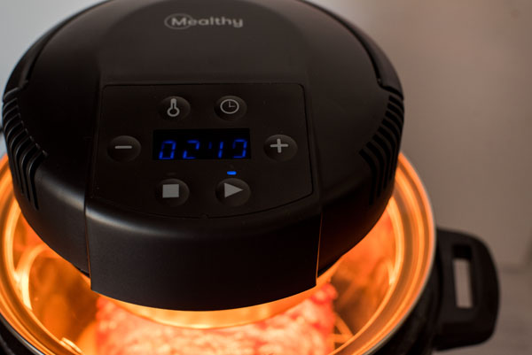 Crisping up BBQ bacon pressure cooker meat loaf in and Instant Pot using a Mealthy CrispLid.