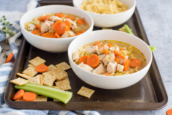Homemade chicken oodle soup recipe made in an Instant Pot ready to serve.