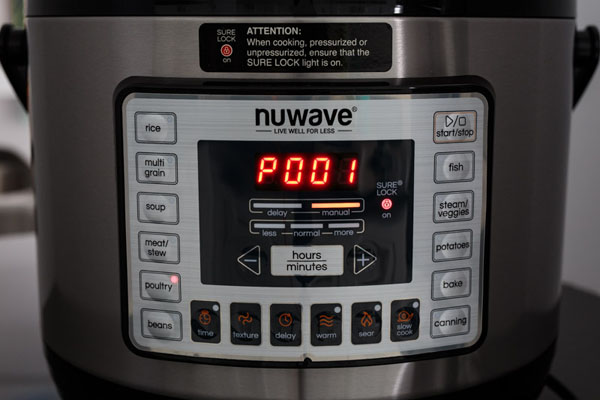 A close up of NuWave Pressure Cooker