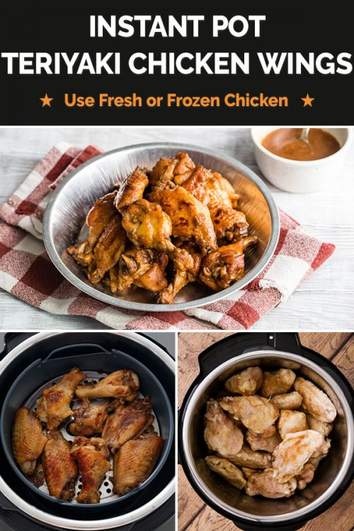 Collage of Instant Pot teriyaki chicken wings in the process of being made from scratch.