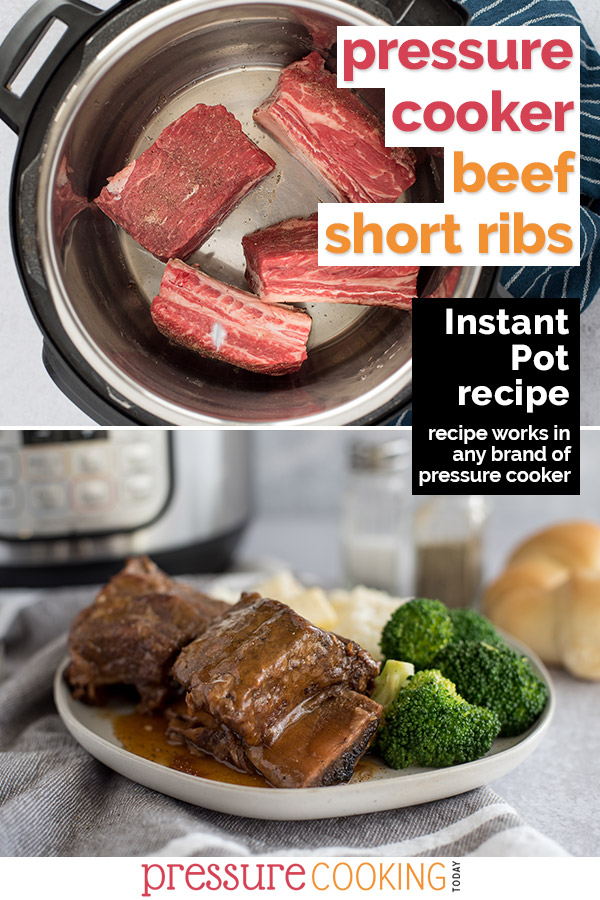 Collage of the Instant Pot Short Ribs recipe, one showing the raw short ribs in the Instant Pot, the lower pictures showing the cooked short ribs plated up and ready to serve via @PressureCook2da