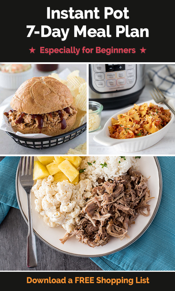 This Instant Pot Meal Plan is perfect for beginners!Each day you'll make a meal that introduces a new pressure cooking skill. By the end of the week, you should feel much more comfortable using your new Instant Pot Duo! via @PressureCook2da