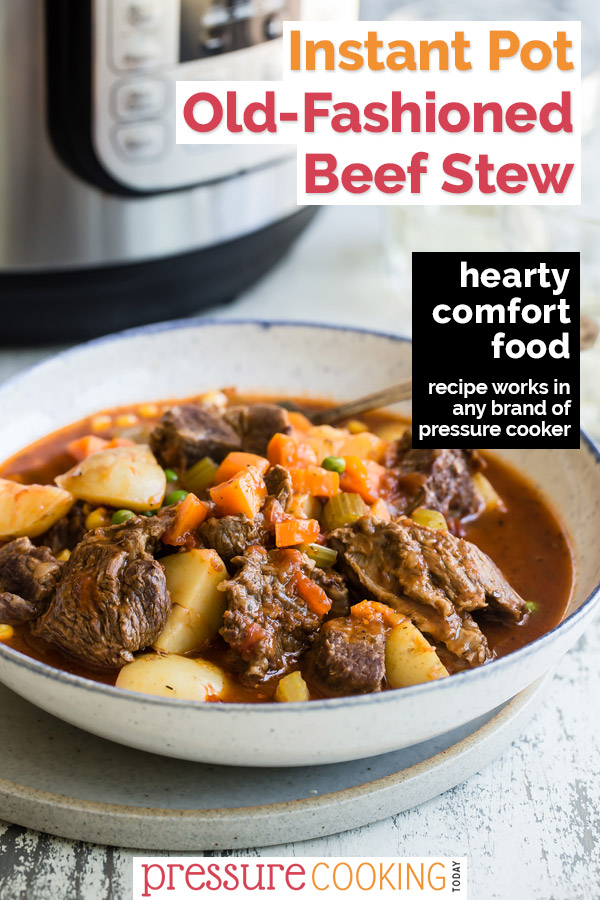 A bowl of beef stew with InstantPot in background