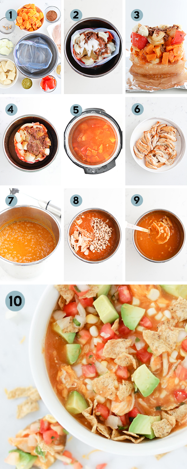 Step by step collage showing how to measure, freeze, then cook the soup using the InstaFreeze program.