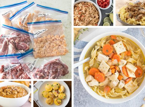 Collage of the Cook First Instant Pot Freezer Meals round up collage including images of prepackaged meat ready to freeze, chicken taco filling, beef stroganoff, pumpkin pie steel cut oats, egg bites, and chicken noodle soup.