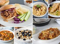 Collage of Instant Pot Pantry Staples Recipes including pulled pork, macaroni and cheese, chicken lazone, hearty beef stew, lemon blueberry steel cut oats, and bow tie past with a quick marinara sauce.