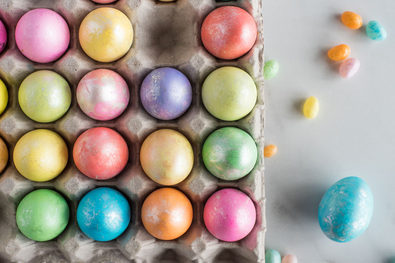 Overhead close up of Easter eggs made in an Instant Pot.