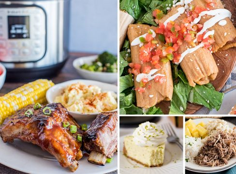 A picture collage of the 50 best Instant Pot Summer recipes including baby back ribs on a plate with corn on the cob and potato salad in front of an Instant Pot, pork tamales on lettuce with sour cream and tomatoes on top, a slice key lime pie with whipped cream on top, and kalua pork on a plate with rice pineapple and macaroni salad.